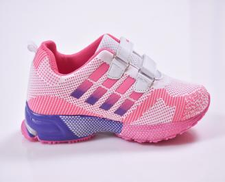 Детски маратонки  текстил розово/бяло