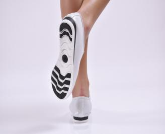 Дамски обувки равни естествена кожа сребристи 3