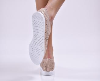 Дамски обувки равни естествена кожа пудра 3