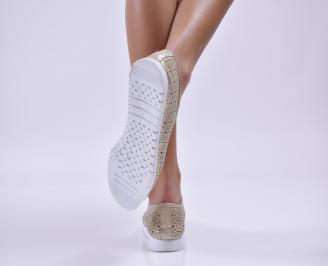 Дамски обувки равни естествена кожа златисти 3