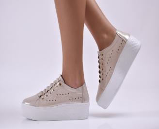 Дамски обувки на платформа естествена кожа злато