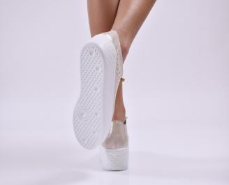 Дамски обувки на платформа естествена кожа злато 3