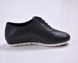 Дамски обувки Гигант равни естествена кожа черни