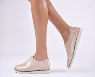 Дамски обувки равни естествена кожа пудра