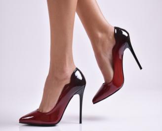 Дамски елегантни обувки еко лак бордо