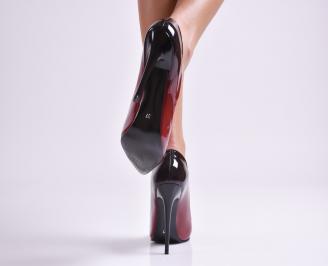 Дамски елегантни обувки еко лак бордо 3
