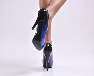 Дамски елегантни обувки еко лак сини 3