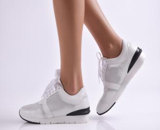 Дамски  обувки сребристи естествена кожа
