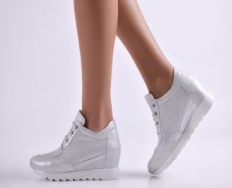 Дамски обувки  естествена кожа сребристи