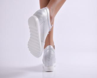 Дамски обувки  естествена кожа сребристи 3