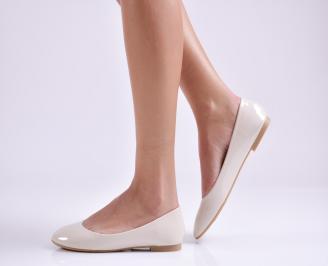Дамски обувки равни еко лак бежови