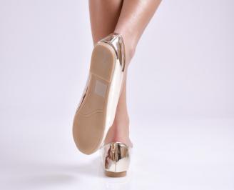 Дамски обувки равни еко лак златисти 3