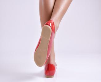 Дамски обувки равни еко лак червени 3
