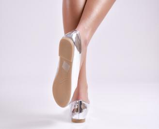 Дамски обувки равни еко лак сребристи 3