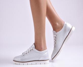 Дамски обувки равни естествена кожа сребристи