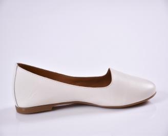 Дамски обувки Гигант равни естествена кожа бежов