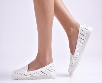 Дамски  равни обувки  бели еко кожа
