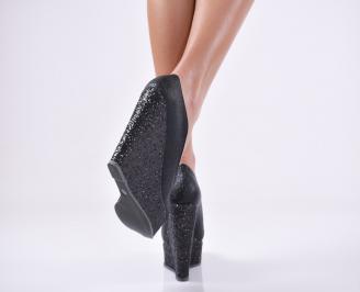 Дамски елегантни обувки на платформа  еко кожа черни