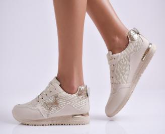 Дамски спортни обувки еко кожа/текстил бежови