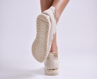 Дамски спортни обувки еко кожа/текстил бежови 3