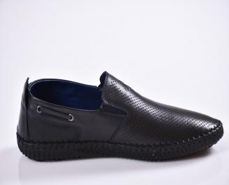 Мъжки спортно елегантни  обувки естествена кожа сини 3