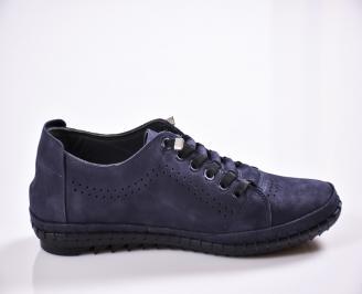 Мъжки спортно елегантни  обувки естествен набук сини 3