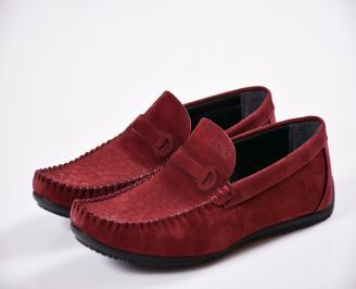 Мъжки спортно елегантни  обувки естествен набук червени