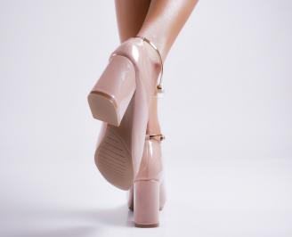 Дамски елегантни обувки еко кожа/лак розови