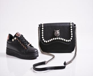 Комплект дамски обувки и чанта еко кожа  черни
