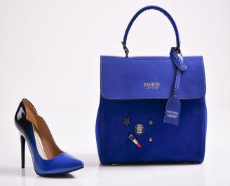 Комплект дамски обувки и чанта еко кожа/лак  сини