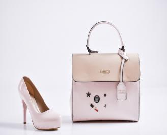 Комплект дамски обувки и чанта еко кожа/лак пудра
