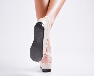 Дамски сандали еко кожа бежови 3