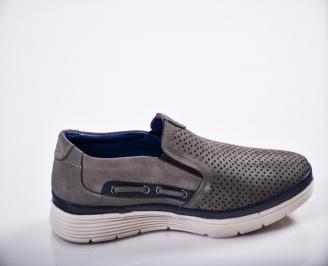 Мъжки спортно елегантни  обувки естествен велур сив 3