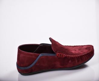 Мъжки спортно елегантни  обувки естествен велур бордо 3