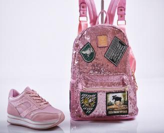 Комплект дамски обувки и раница еко кожа розови.