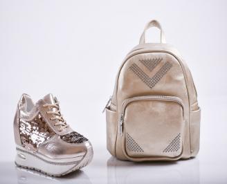 Комплект дамски обувки и раница еко кожа златисти
