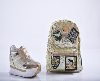 Комплект дамски обувки и раница естествена кожа златисти