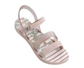 Дамски равни силиконови сандали  пудра