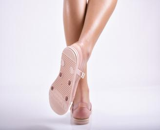 Дамски равни силиконови сандали  пудра 3