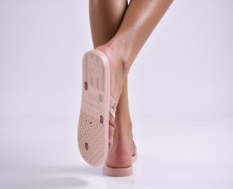 Дамски чехли пудра 3