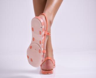 Дамски равни  сандали оранжеви 3