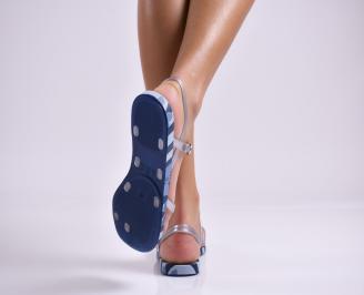 Дамски равни  сандали  сини 3