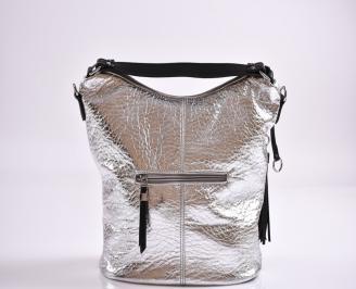 Дамска чанта еко кожа сребриста