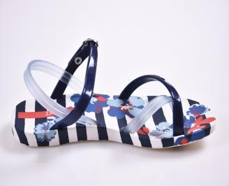 Детски  равни  сандали сини 3