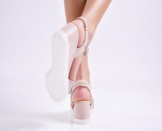 Дамски сандали на платформа естествена кожа пудра