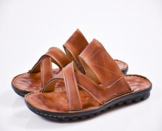 Мъжки чехли естествена кожа кафяви