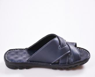 Мъжки чехли естествена кожа сини
