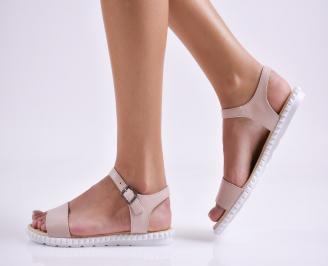 Дамски равни сандали  естествена кожа пудра