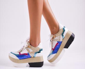 Дамски обувки на платформа еко кожа бели