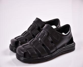Мъжки сандали -Гигант естествена кожа черни